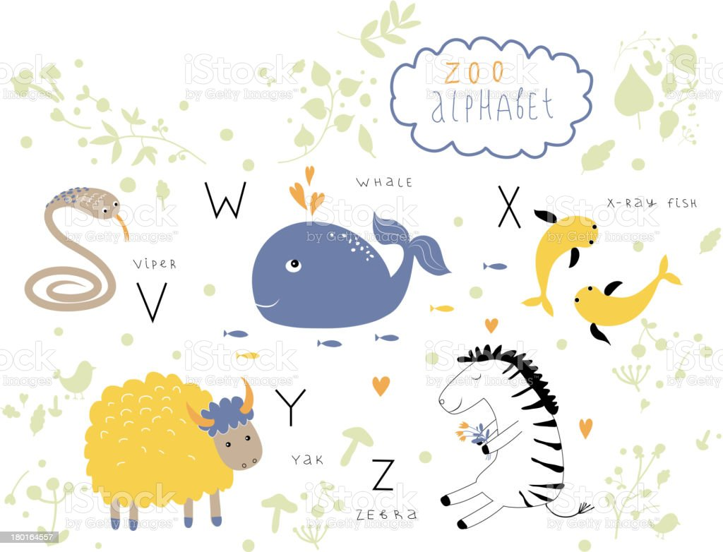 Zoo alphabet with animal and plant graphics on white
