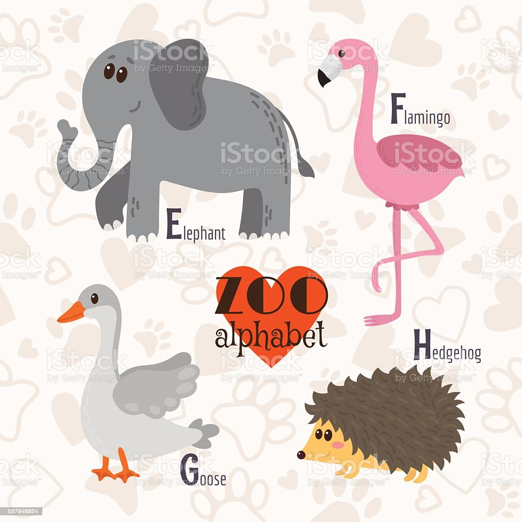 Zoo alphabet with funny animals. E, f, g, h letters. vector art illustration
