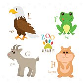 Zoo alphabet with funny cartoon animals. E, f, g, h letters. Eagle, frog, goat, hamster. Vector illustration