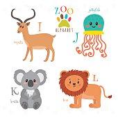 Zoo alphabet with funny cartoon animals.