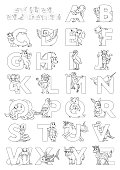 Zoo animal alphabet. Letters from A to Z. Cartoon cute animals isolated on white background. Different animals ABC. For children school education and foreign language study. Coloring book and page.
