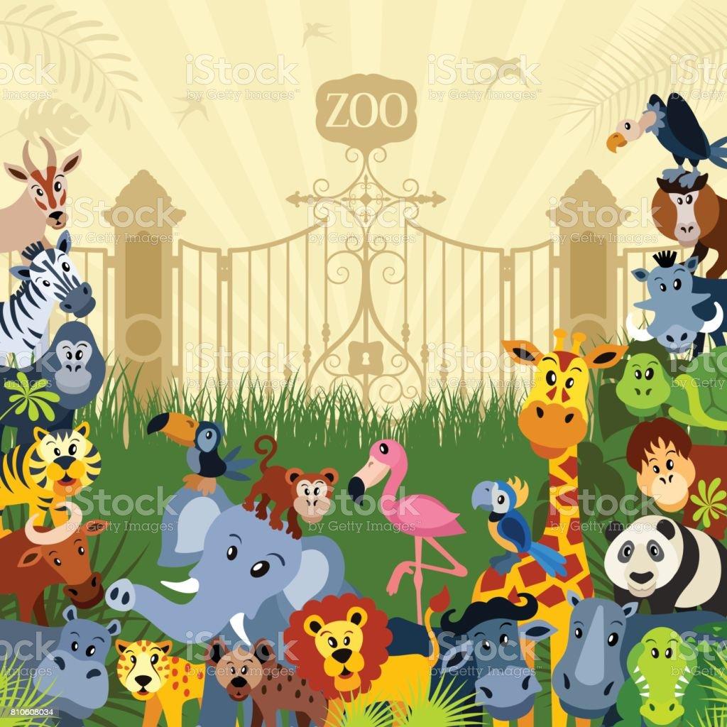 Zoo Animal Characters vector art illustration