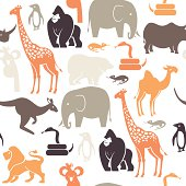 A seamless repeatable pattern of zoo animals. See below for an icon set of this file.
