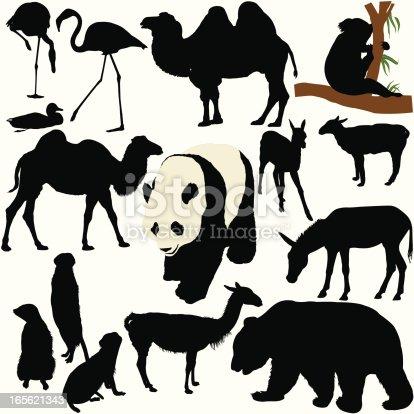 Conjunto de silueta de animales de zoológico