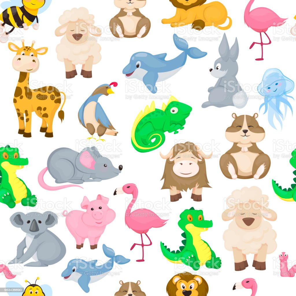 Zoo Animals Alphabet Seamless Pattern Abc Vector