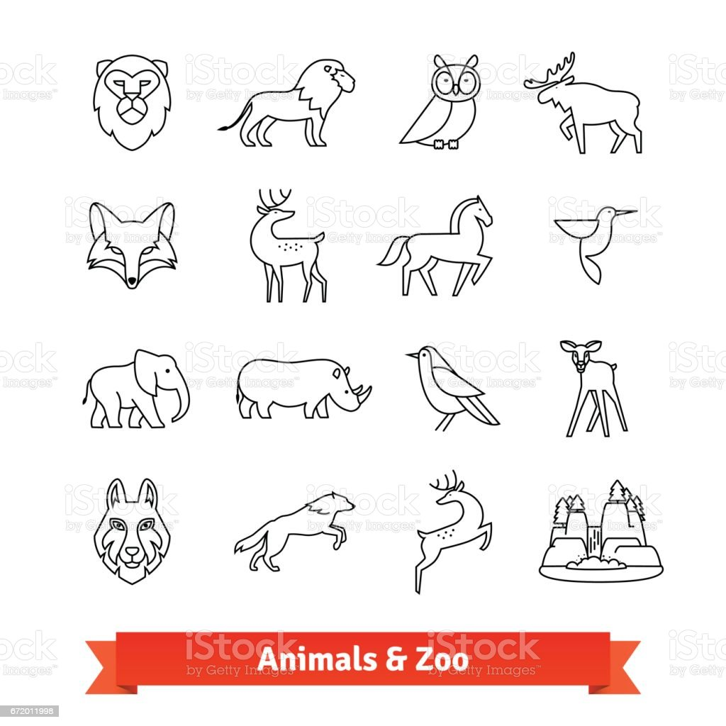Zoo animals and birds. Thin line art icons set vector art illustration