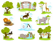 istock Zoo animals cartoon characters, set of isolated stickers vector illustration 1214130969