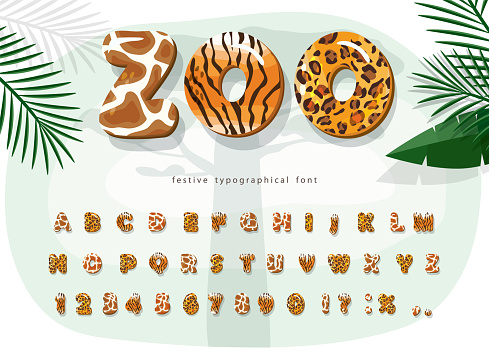Zoo animals cartoon font. Jaguar, cheetah, tiger, giraffe fur print alphabet. Jungle adventure letters and numbers. For kids clothes, t shirt, birthday card. Vector