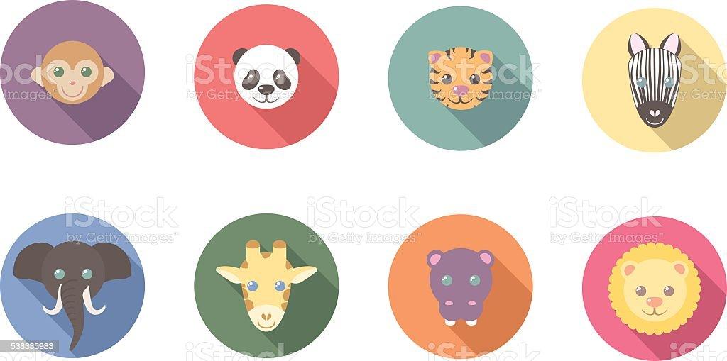 Zoo Animals Flat Long Shadow Icons vector art illustration