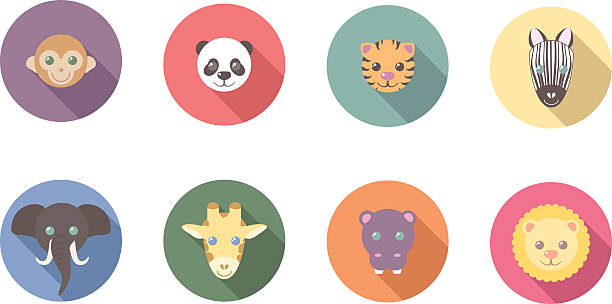 Zoo Animals Flat Long Shadow Icons vector art illustration