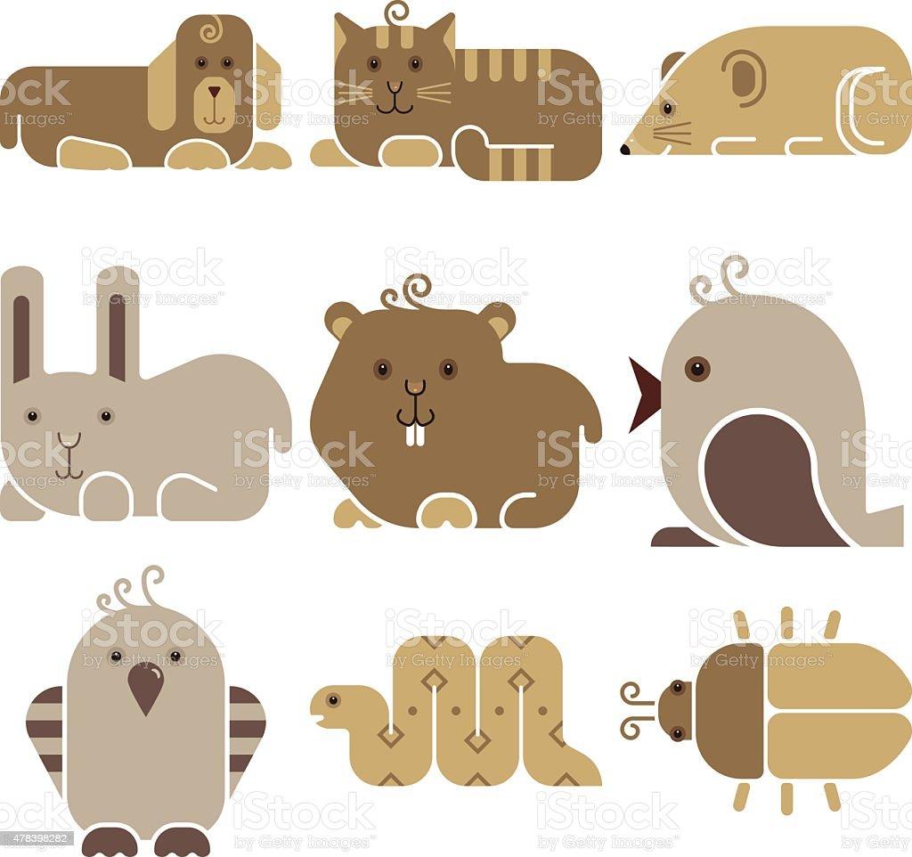 Zoo animals icons vector art illustration