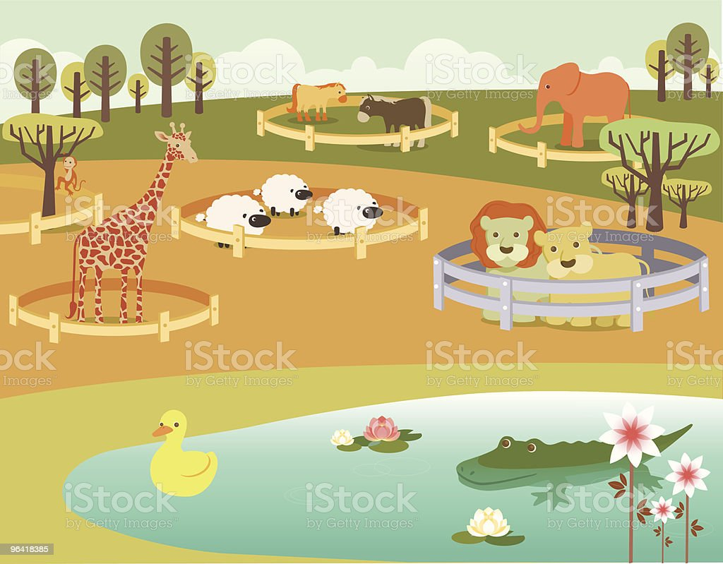 Zoo Animals in Pens vector art illustration