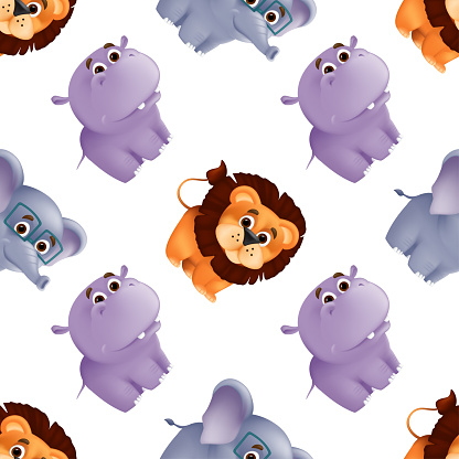 Zoo animals seamless pattern with cute baby lion, hippo and elephant. Vector illustration with funny mascot characters isolated on white background. Great for fabric print, textile or wrapping paper