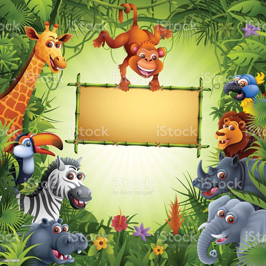 Zoo Animals vector art illustration