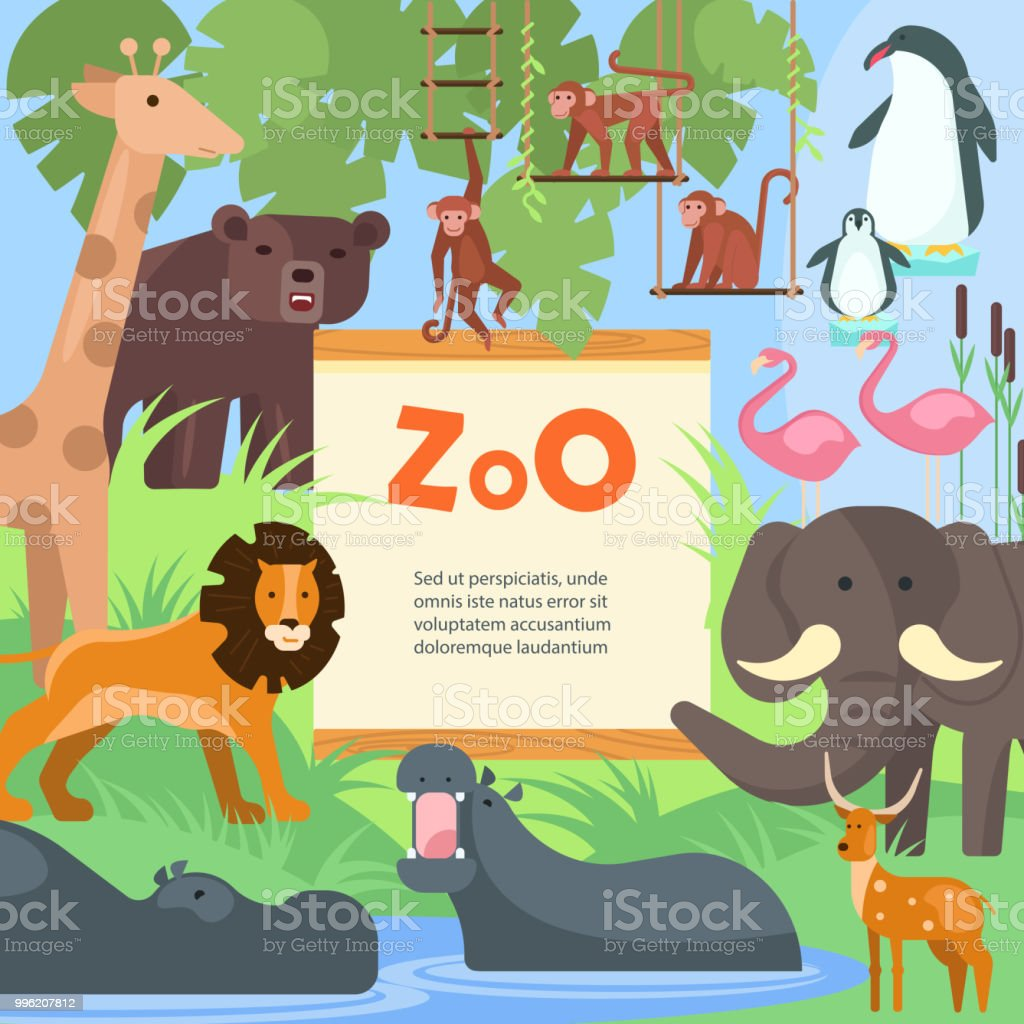 zoo animals vector poster template stock vector art more images of