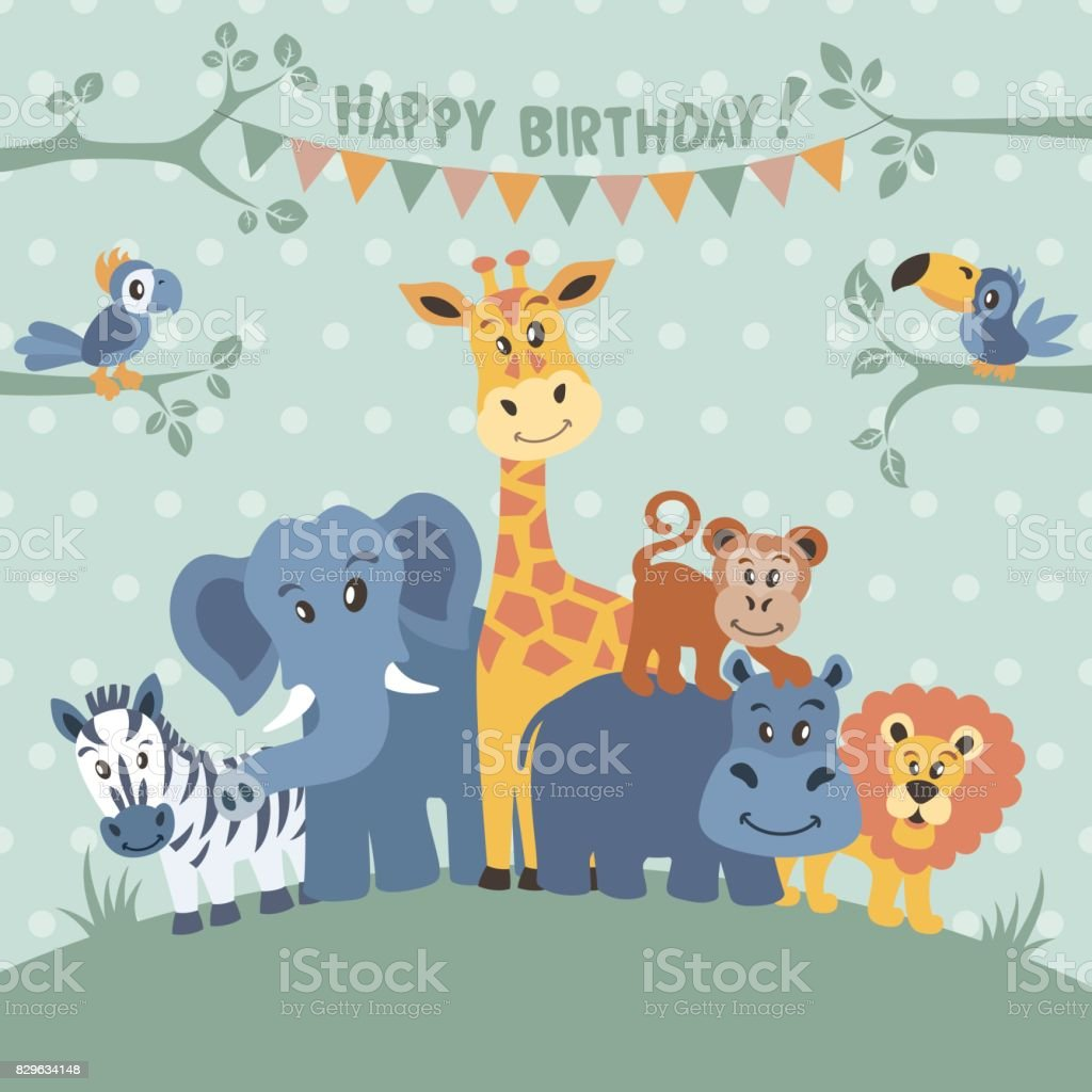 Zoo Birthday Party Invitation Royalty Free Stock Vector Art