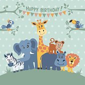African animals on birthday party invitation