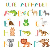 Zoo. Cute cartoon animals alphabet from A to M. Vector illustration