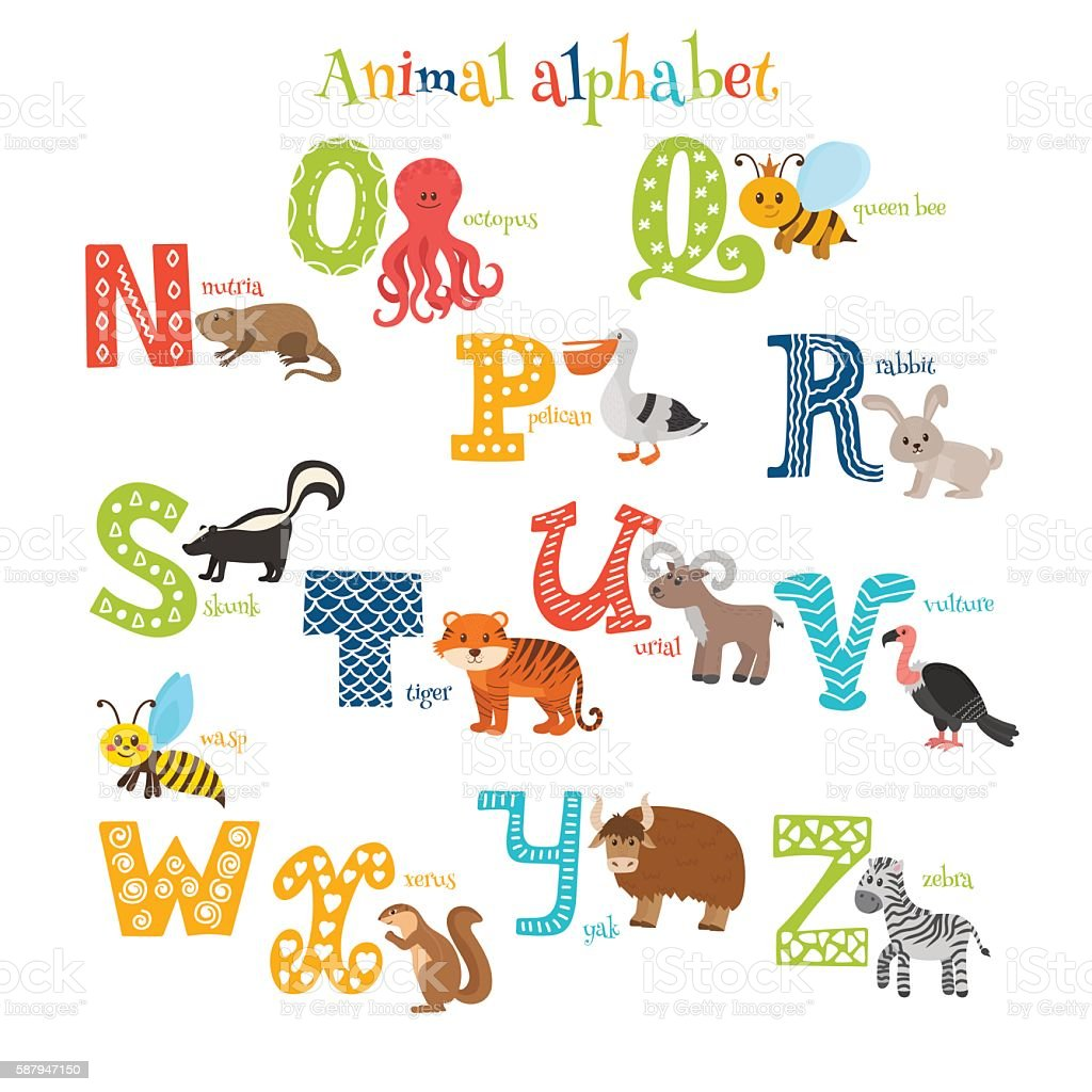 Zoo Cute Cartoon Animals Alphabet From N To Z Stock