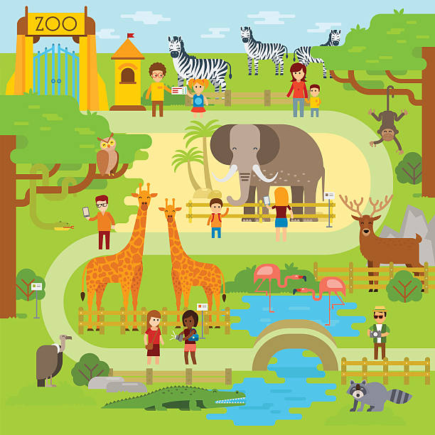 zoo-element - zoo stock-grafiken, -clipart, -cartoons und -symbole