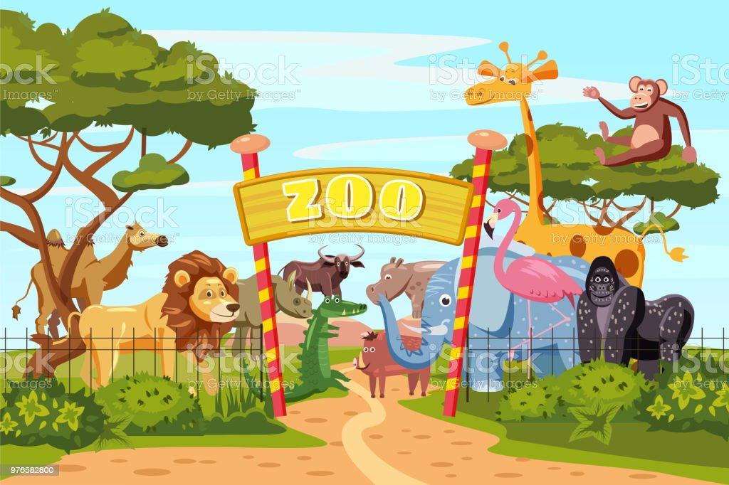 Zoo Entrance Gates Cartoon Poster With Elephant Giraffe