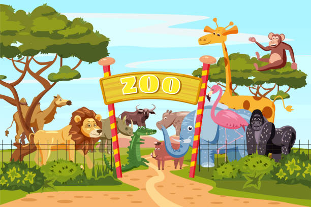 zoo-eingangstore cartoon poster mit elefant giraffe löwe safaritiere und besucher auf territorium vektor-illustration, cartoon-stil, isoliert - zoo stock-grafiken, -clipart, -cartoons und -symbole