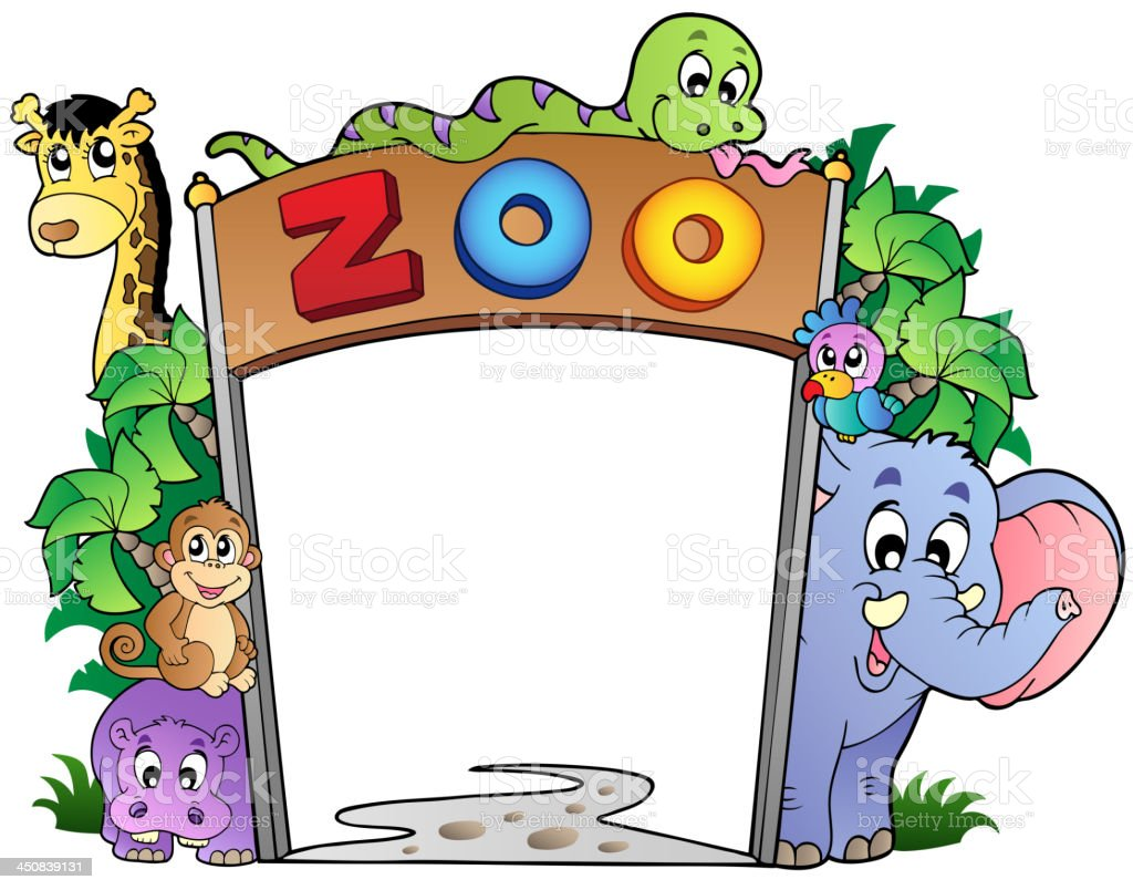 Zoo entrance with various animals vector art illustration