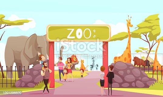 Zoo entrance gates cartoon poster with elephant giraffe lion safari animals and visitors on territory vector illustration
