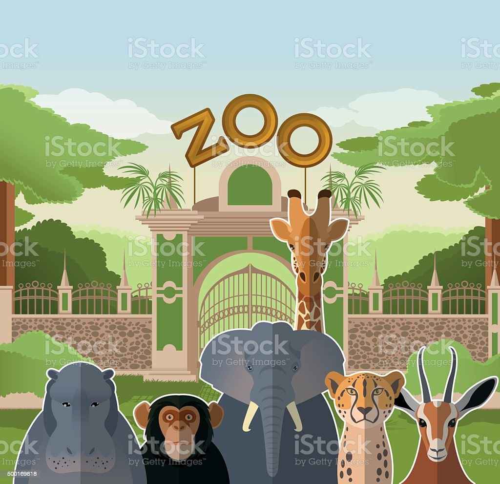 Zoo gate with african flat animals vector art illustration