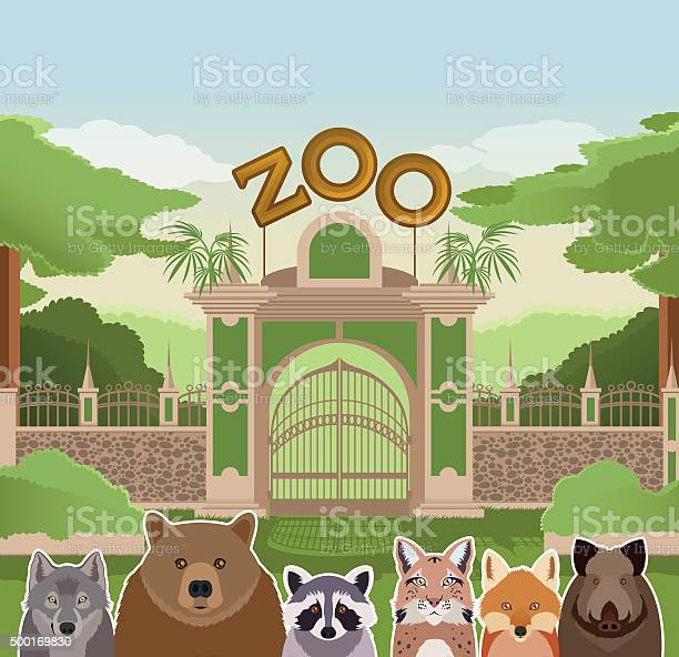 Zoo gate with forest animals vector id500169830?b=1&k=6&m=500169830&s=612x612&h= ciqya7gsfmajsiqzol fgtte1os1mgzif61vflujia=
