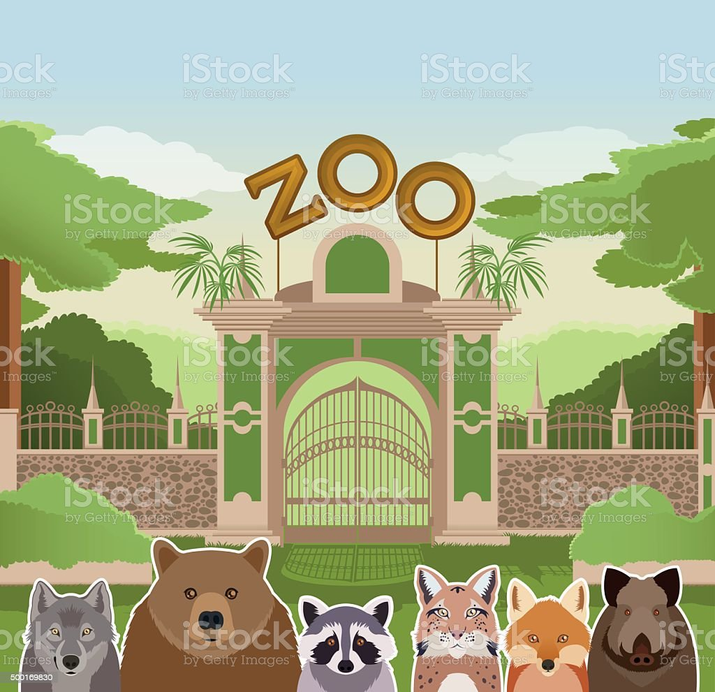 Zoo gate with forest animals vector art illustration