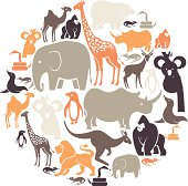 A set of zoo animals. See below for a repeat pattern of this file.