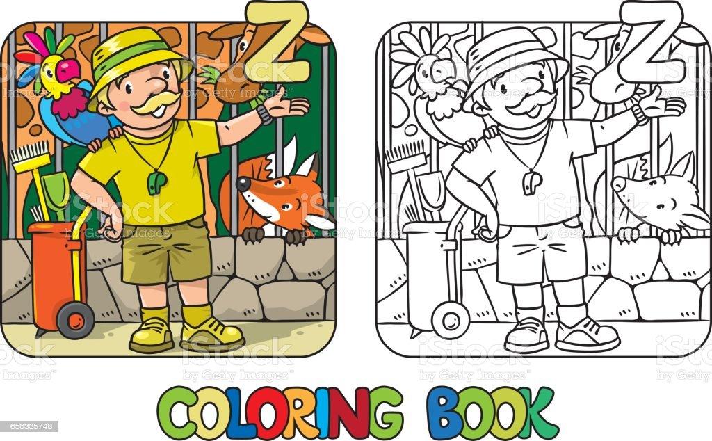 Ilustración de Guardián De Zoológico Libro Profesión Abc Alfabeto Z ...