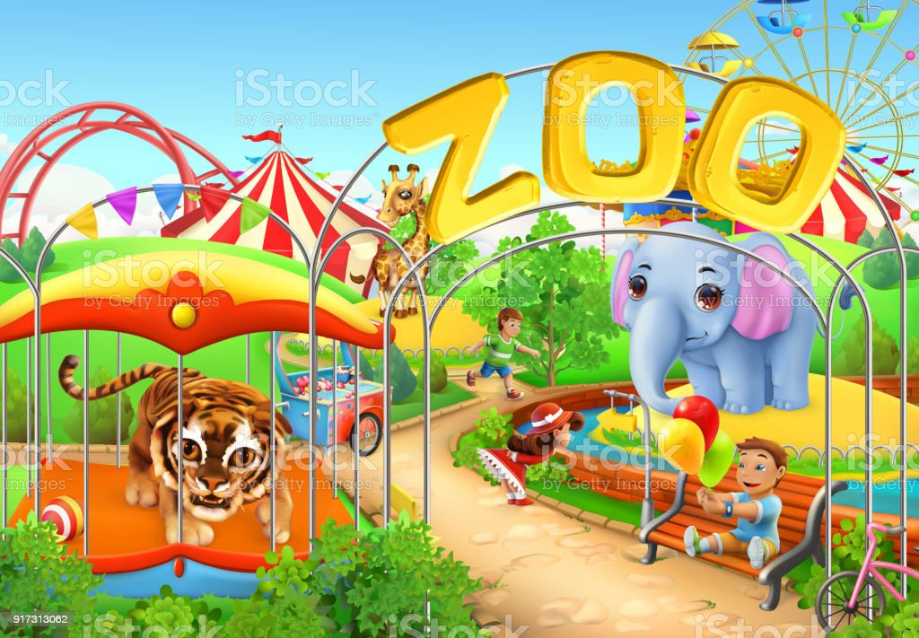 Zoo Kids Playground Amusement Park 3d Vector Illustration