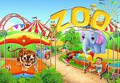 Zoo. Kids playground. Amusement park. 3d vector illustration