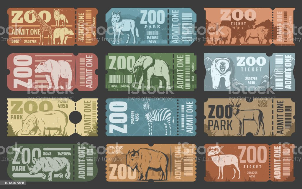 Zoo park tickets with african and forest animals royalty-free zoo park tickets with african and forest animals stock illustration - download image now