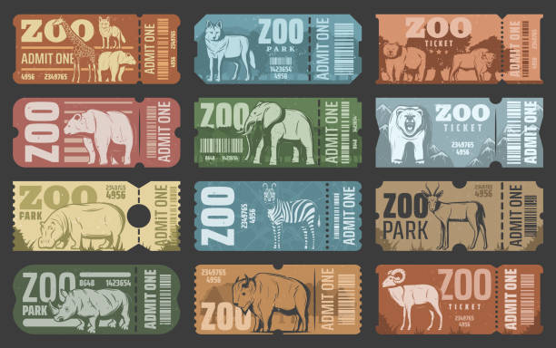 Zoo park tickets with african and forest animals Zoo tickets template design with african and forest animal. Retro grunge admit one card or coupon with african safari lion, elephant and giraffe, bear, zebra and rhino, hippo, antelope and bison zoo stock illustrations