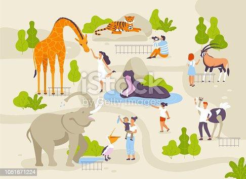 Zoo park with funny animals and people interacting with them vector flat illustrations. Animals in zoo infographic elements with adults and children cartoon characters walking in the park map creating.