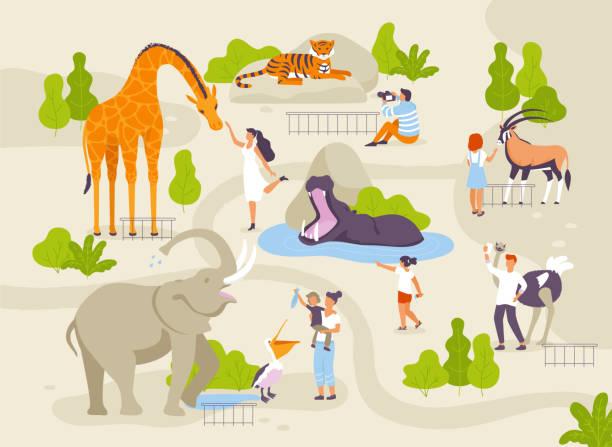 面白い動物園動物と接する人々 ベクトル フラット イラスト。大人と子供と動物園インフォ グラフィック要素の動物漫画のキャラクター公園マップ作成における歩行 - 動物園点のイラスト素材/クリップアート素材/マンガ素材/アイコン素材