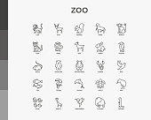 Zoo thin line icons set: lion, deer, horse, monkey, tiger, penguin, hippo, giraffe, elephant, turtle. Modern vector illustration.