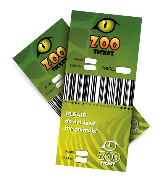 zoo-tickets-vektorabbildung - zoo stock-grafiken, -clipart, -cartoons und -symbole