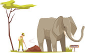 Elephant standing outdoor and zoo keeper at work  cleaning territory under tree cartoon composition vector illustration