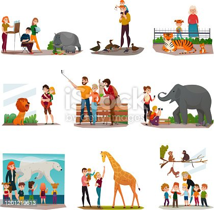 Zoo icons set with visitors making selfie feeding ducks watching tigers talking to giraffe isolated vector illustrations