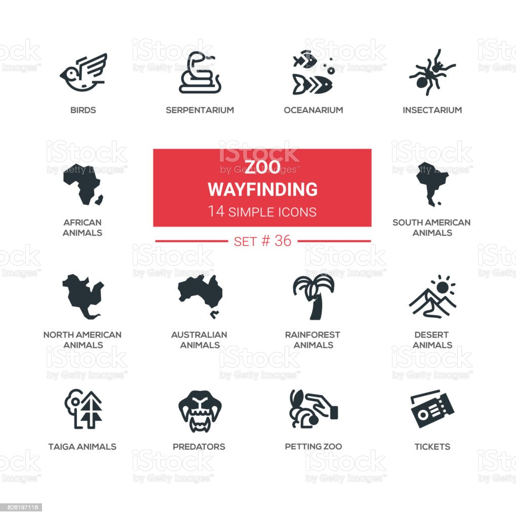 Zoo wayfinding - modern vector line icons set vector art illustration