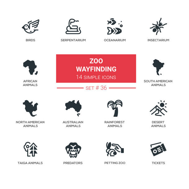 zoo wayfinding - modern vector line icons set - wayfinding icons stock illustrations, clip art, cartoons, & icons