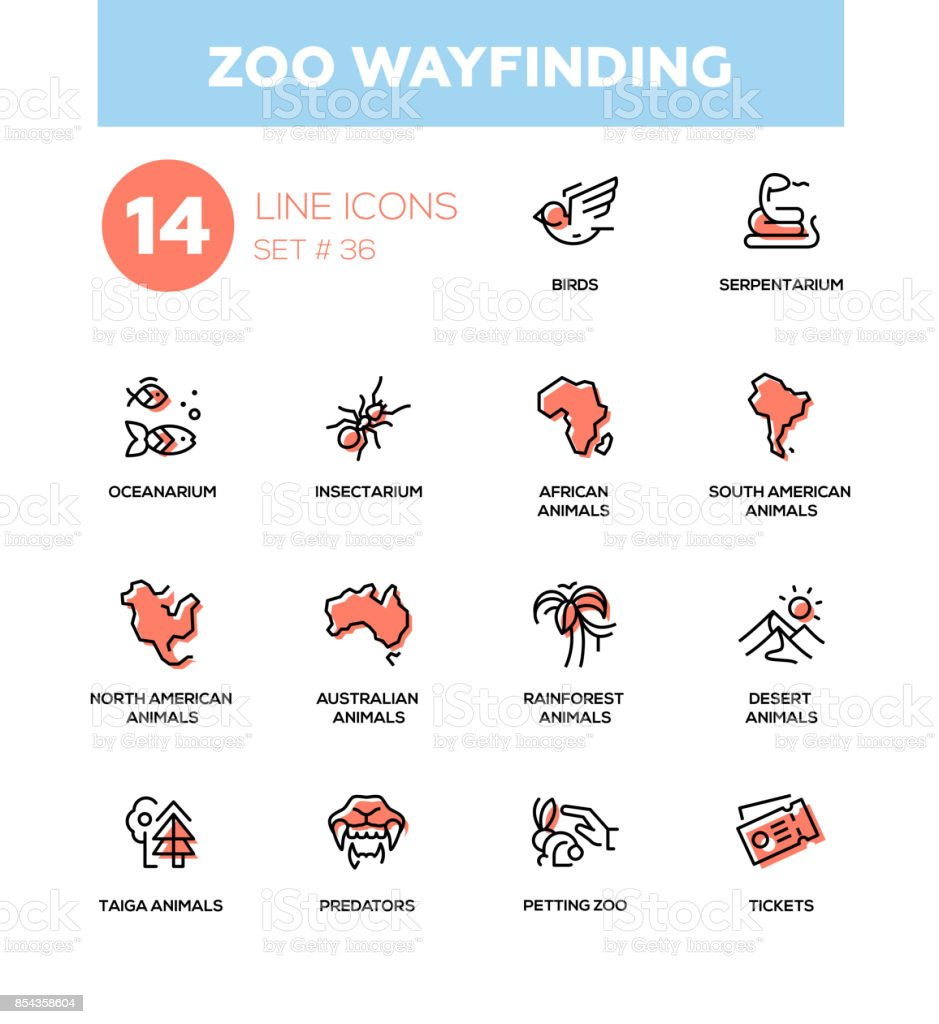 Zoo wayfinding - modern vector single line icons set vector art illustration