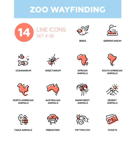 zoo wayfinding - modern vector single line icons set - wayfinding icons stock illustrations, clip art, cartoons, & icons