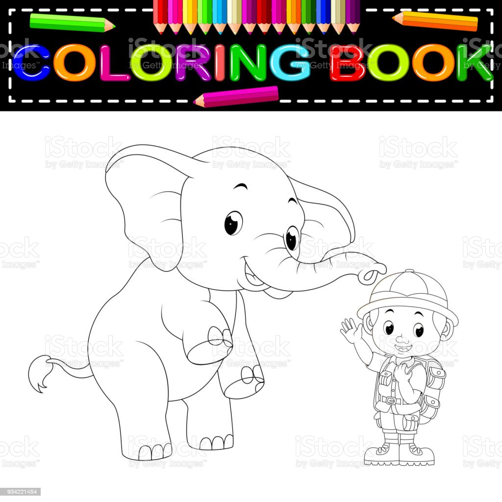 Hayvan Bekçisi Ve Fil Boyama Kitabı Stok Vektör Sanatı Adamlarnin