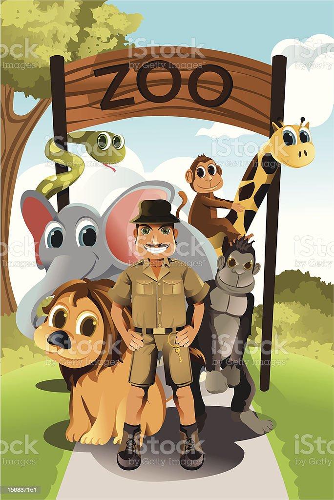 Zookeeper and wild animals vector art illustration