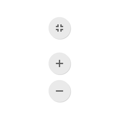 Zoom in, out and by page size icon buttons